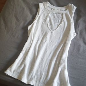 Lucky Brand White Burnout Sleeveless with Keyhole